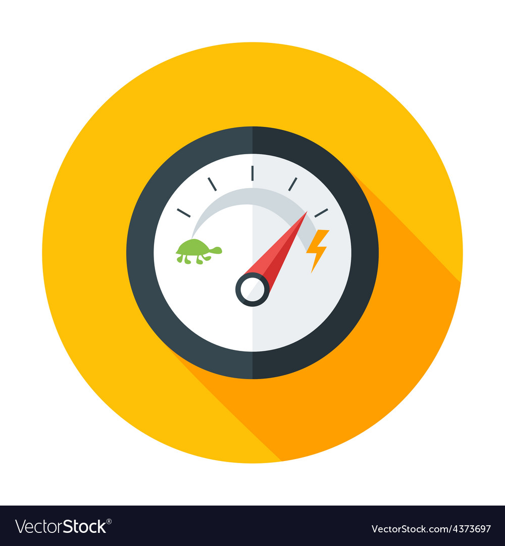 Slow and Fast Speedometer Flat Circle Icon with