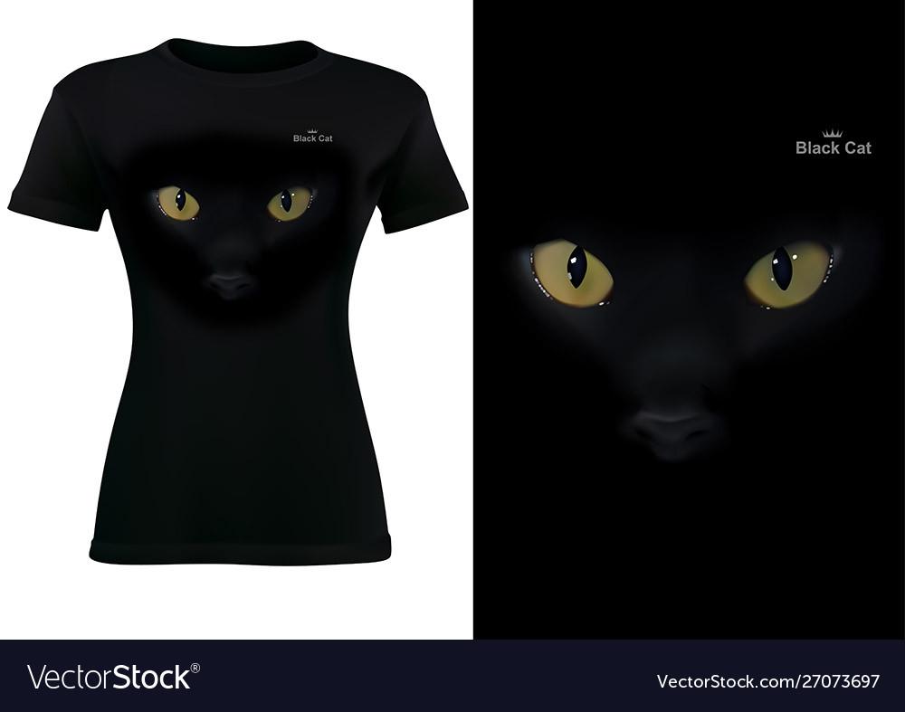 Women black t-shirt with cat eyes