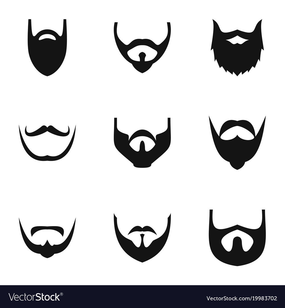 Beard icons set simple style