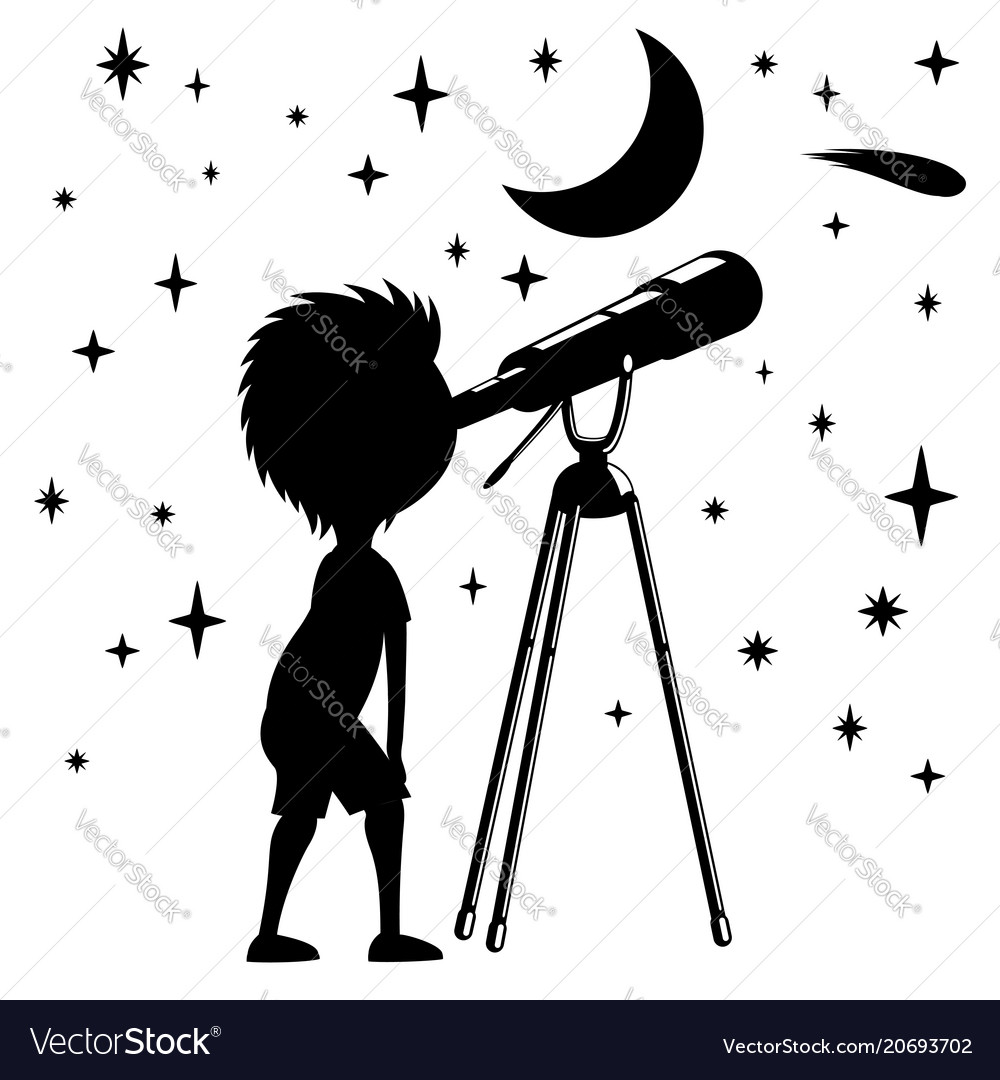 child with telescope royalty free vector image
