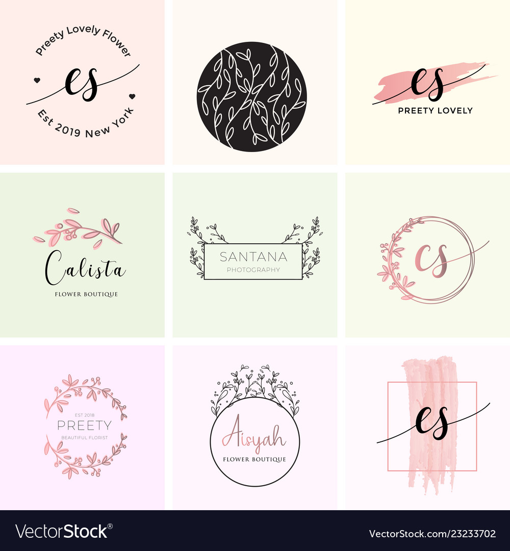 feminine premade logo bundle branding template vector image