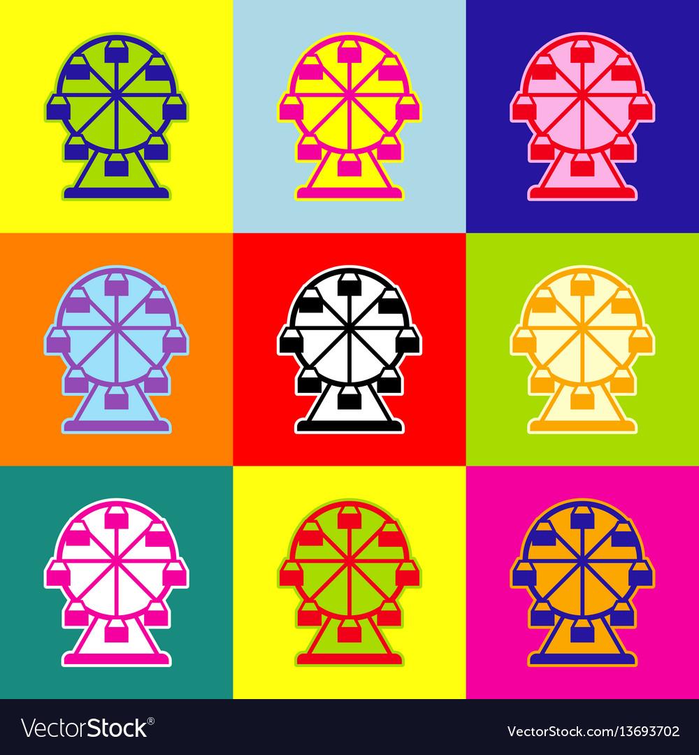 Ferris wheel sign pop-art style colorful