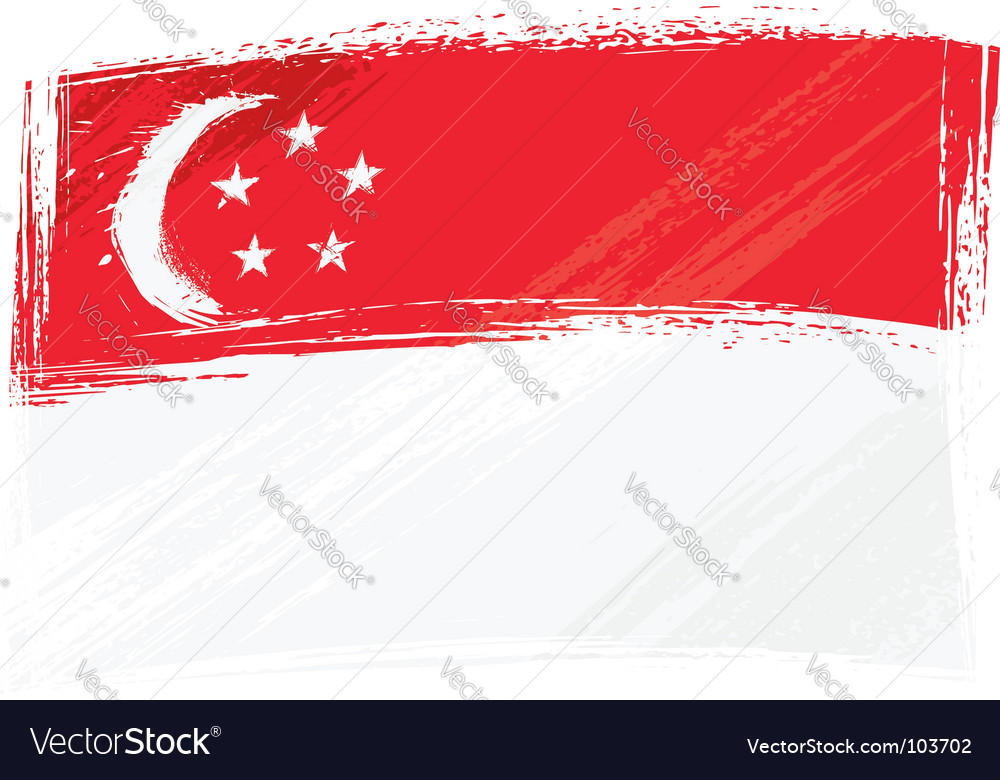 Singapore National Flag Picture on Grunge Singapore Flag Vector 103702 By Oxygen64   Royalty Free Vector
