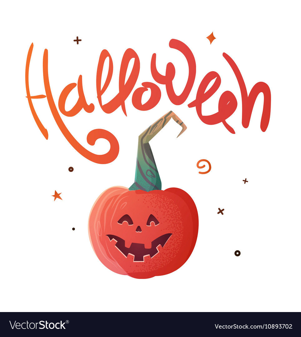 Halloween poster with Pumpkin and inscription