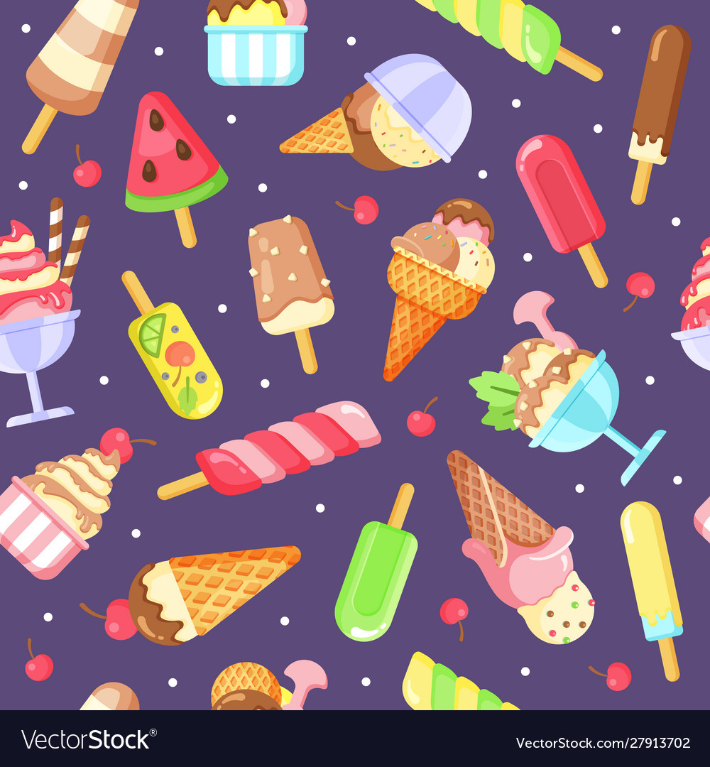 Ice cream flat colorful seamless pattern
