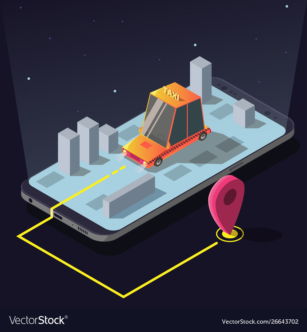 Isometric taxi car order service app yellow cab