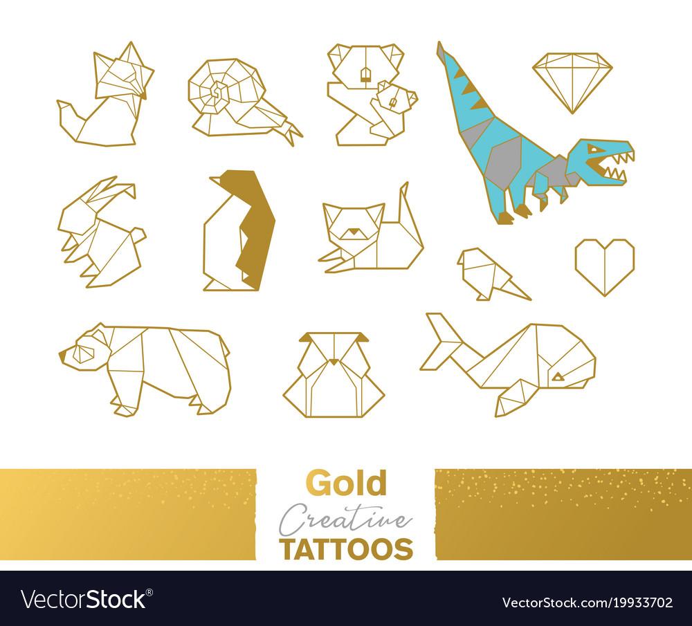 Metallic temporary tattoos gold silver origami