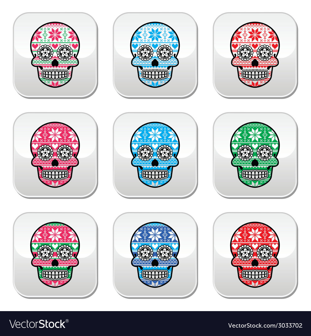 Mexican sugar skull buttons with winter nordic pat