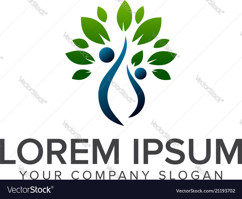 People green tree logo design concept template