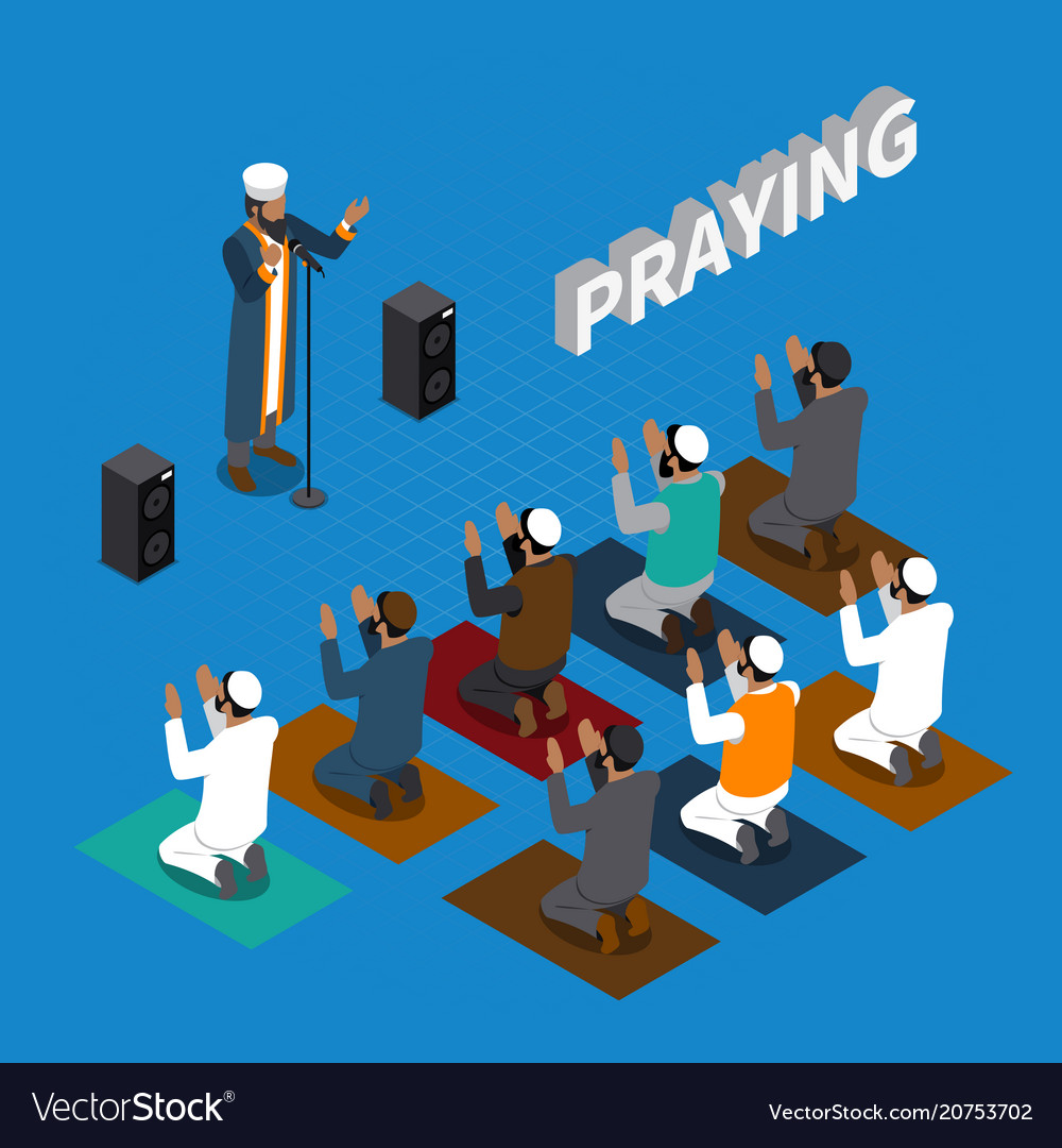 Praying in islam isometric composition vector image