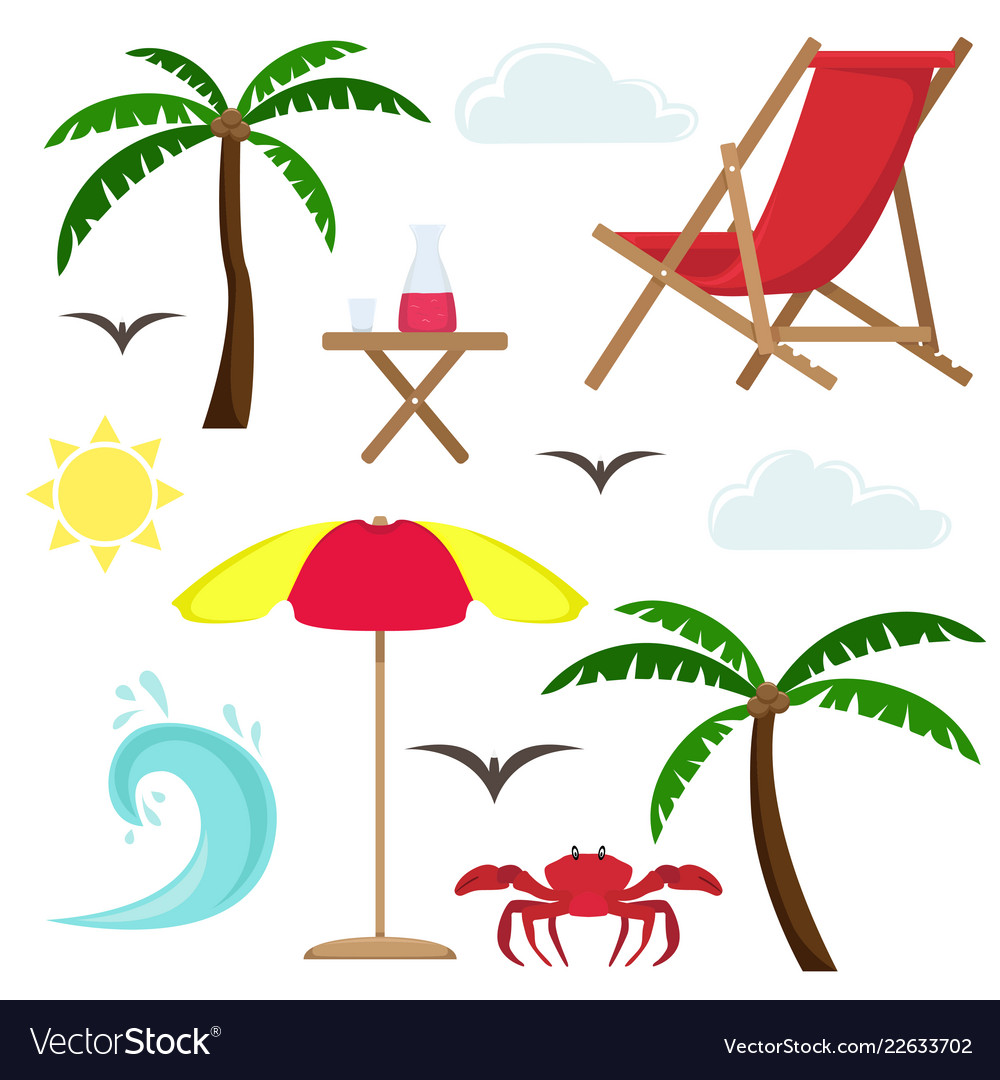 Set of beach vacation at sea isolated