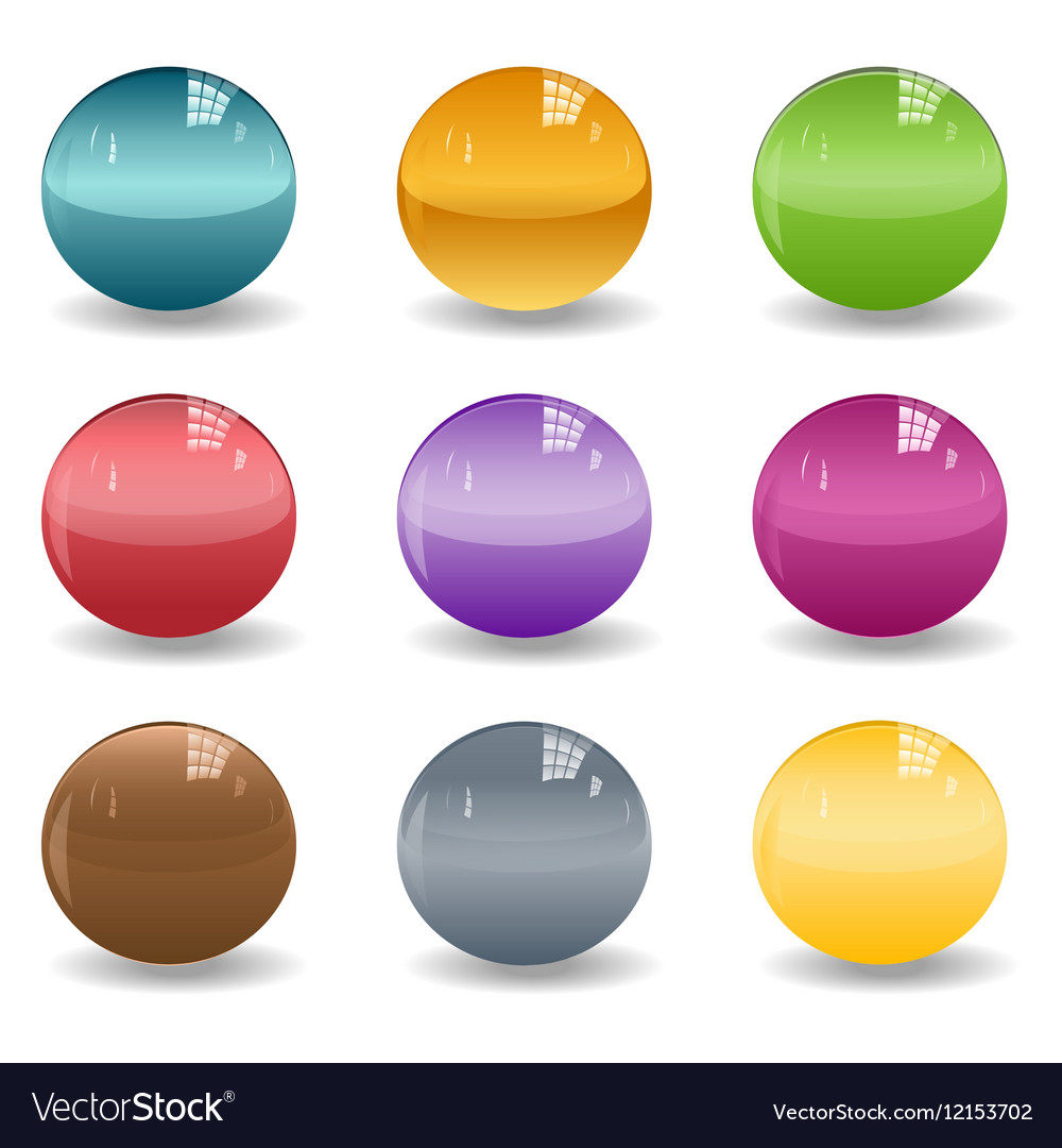 Set of colored spheres or glass balls on white