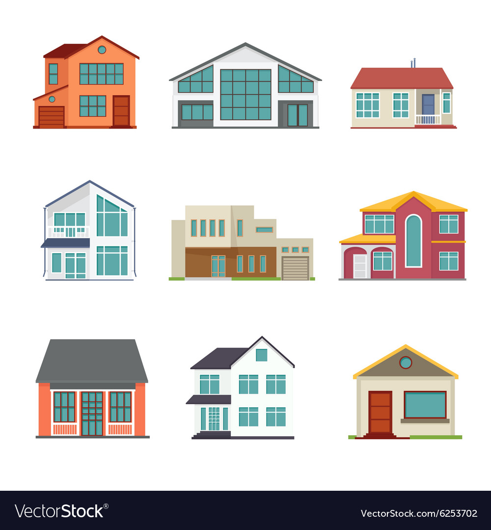 Set of cottage building flat icons