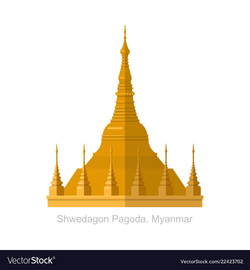 Shwedagon pagoda in yangon myanma symbol icon