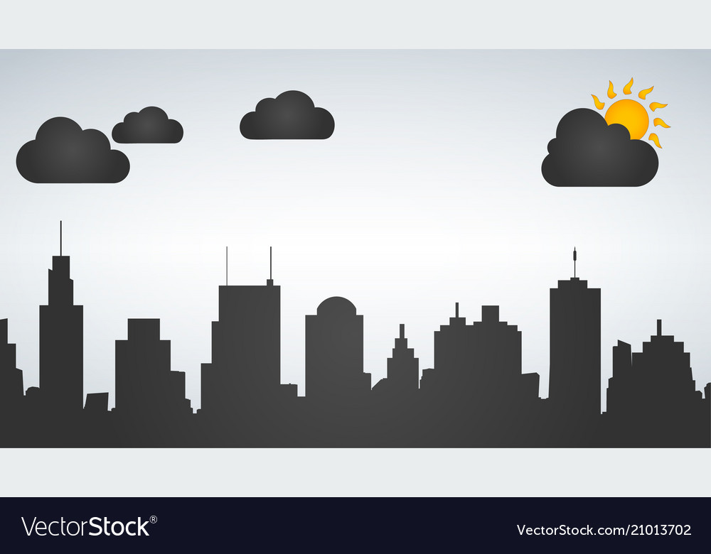 Silhouette of the city day time isolated on white