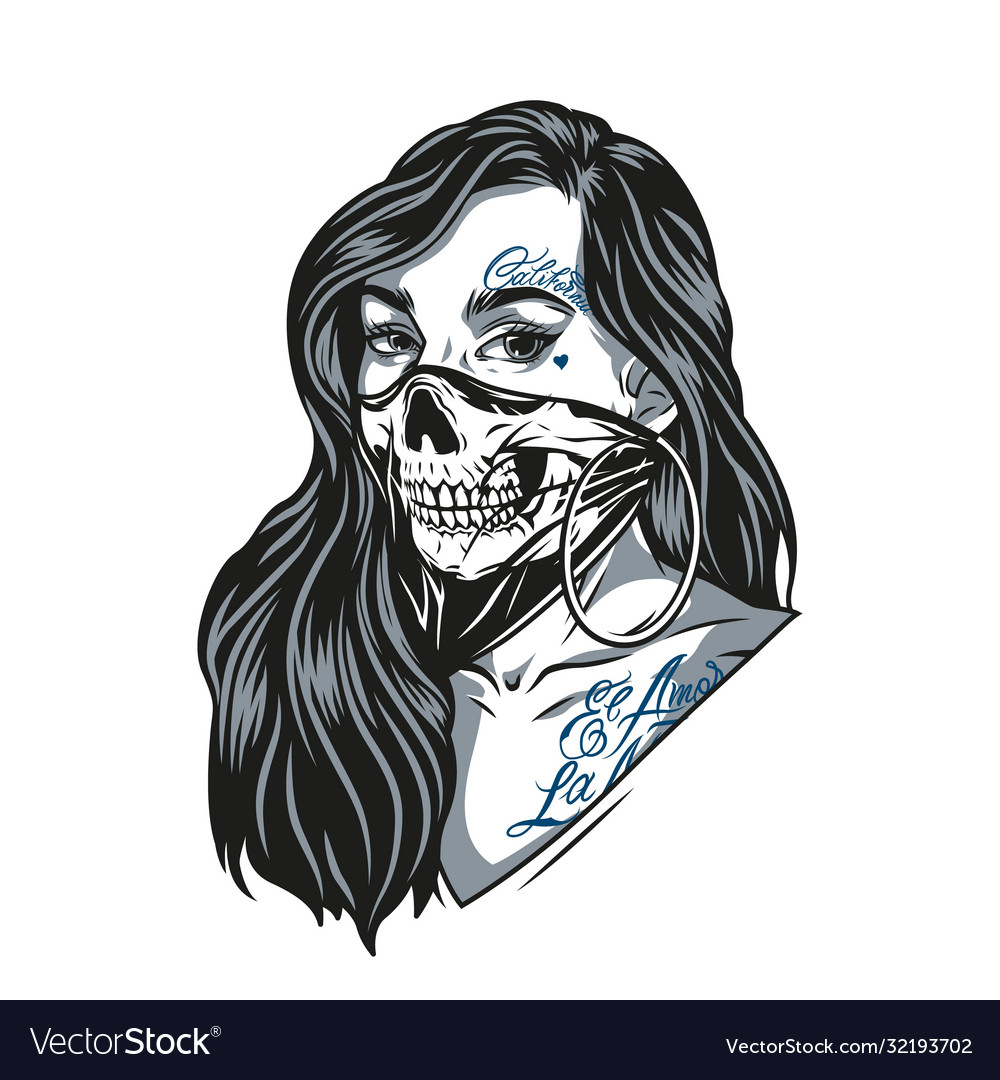 Woman in scary skull mask