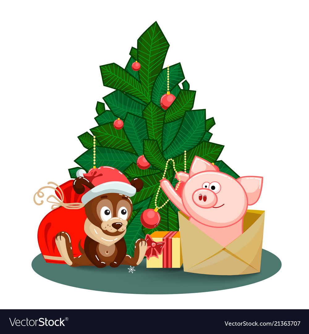 A puppy a bag gifts and pig jumping out of an