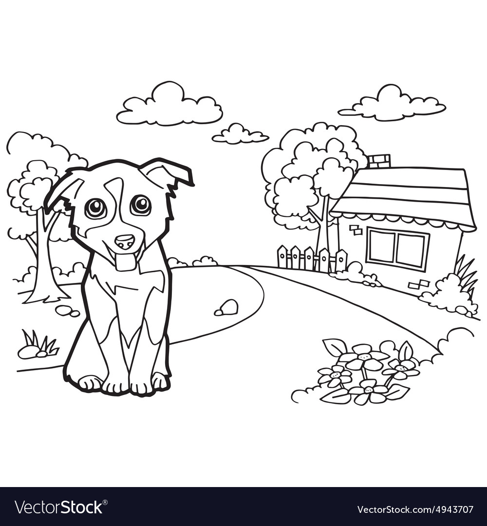Coloring book with dog and house Royalty Free Vector Image