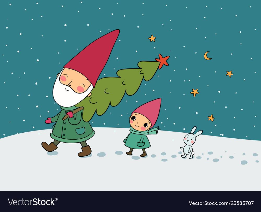 Cute cartoon gnomes christmas elves grandfather