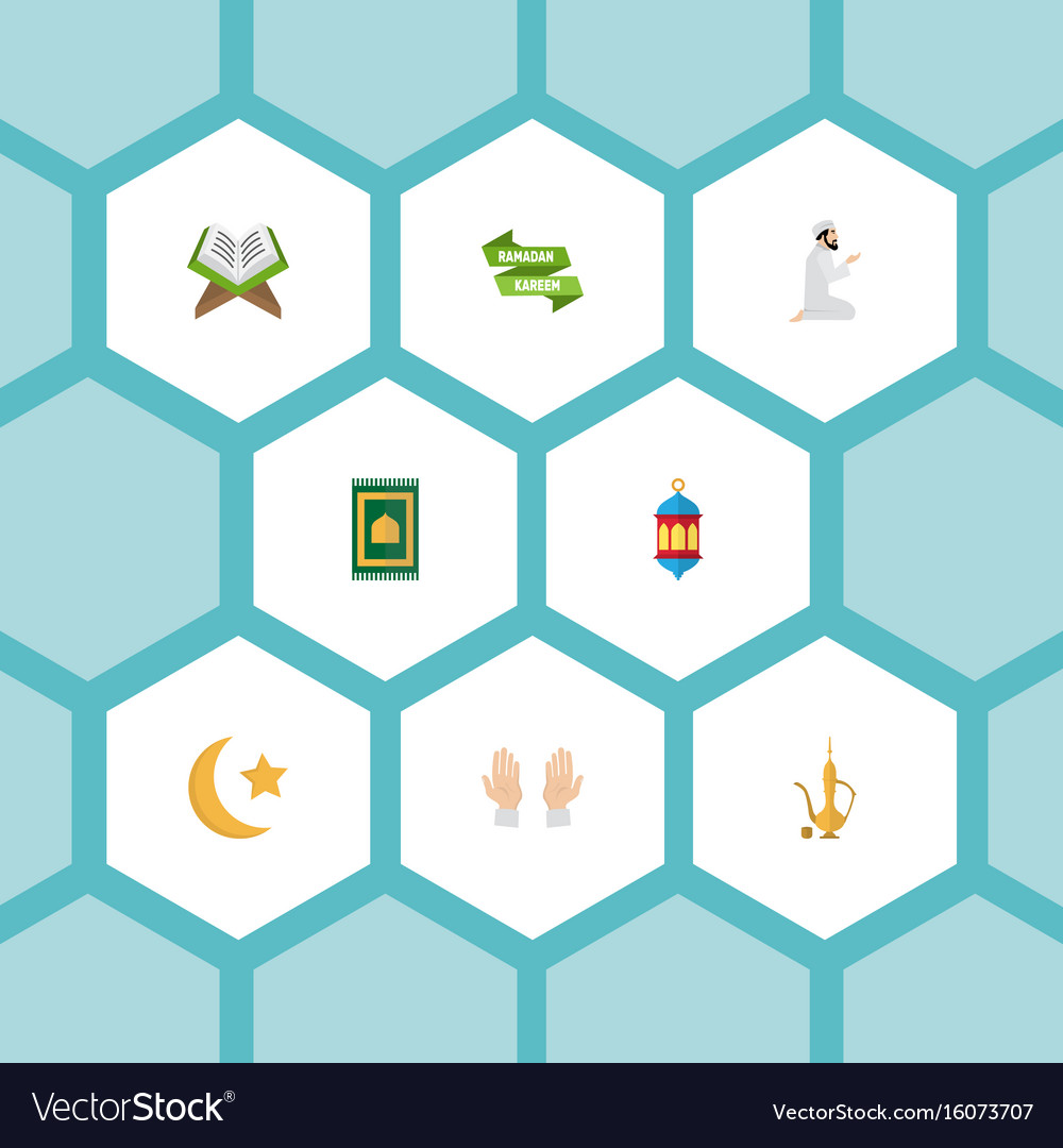 Flat icons prayer carpet ramadan kareem holy
