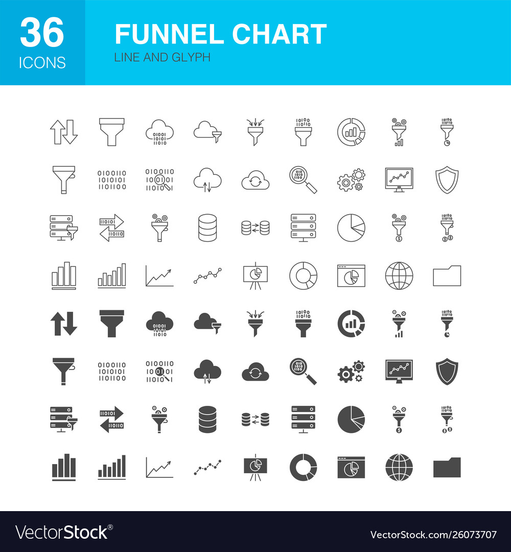Funnel chart line web glyph icons