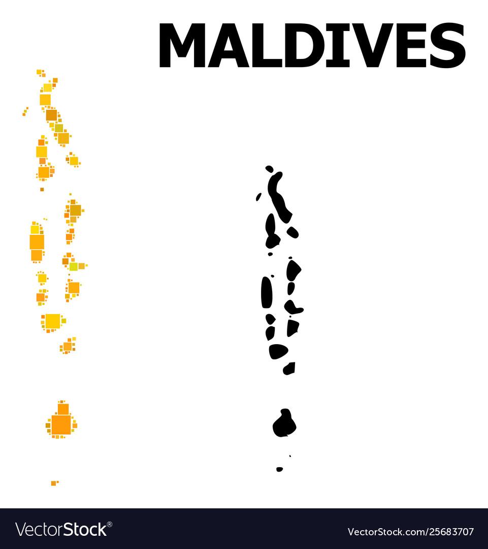 Golden square mosaic map maldives