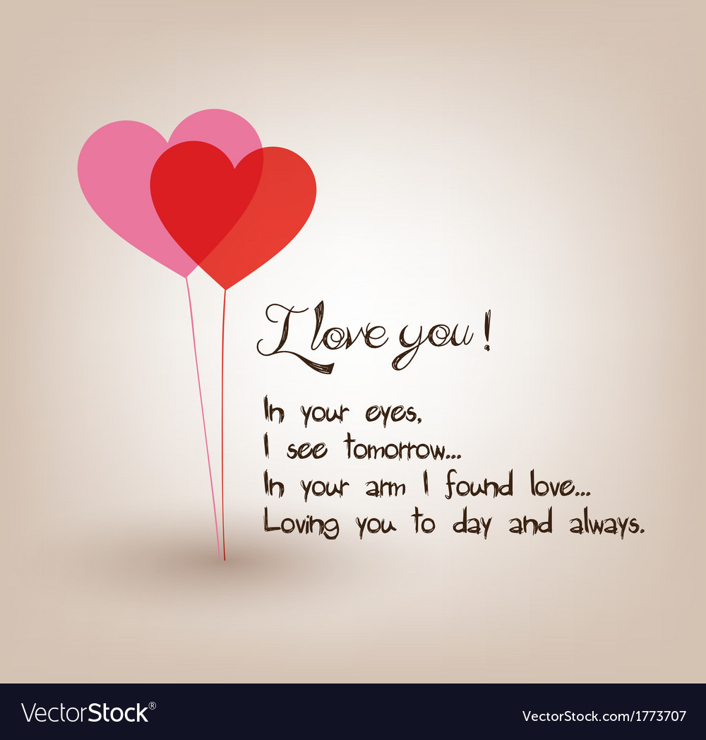 I Love You Greetings Card Royalty Free Vector Image