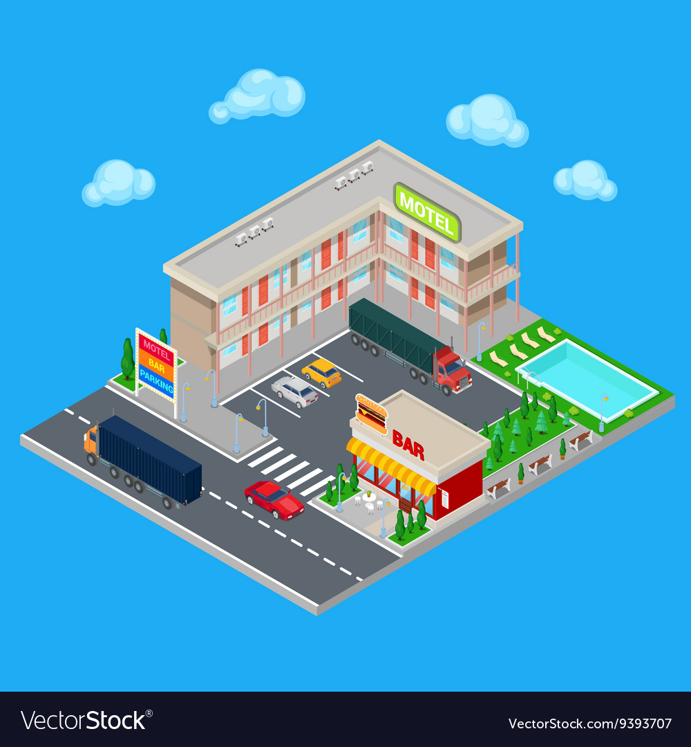 Isometric Motel with Parking Zone and Bar