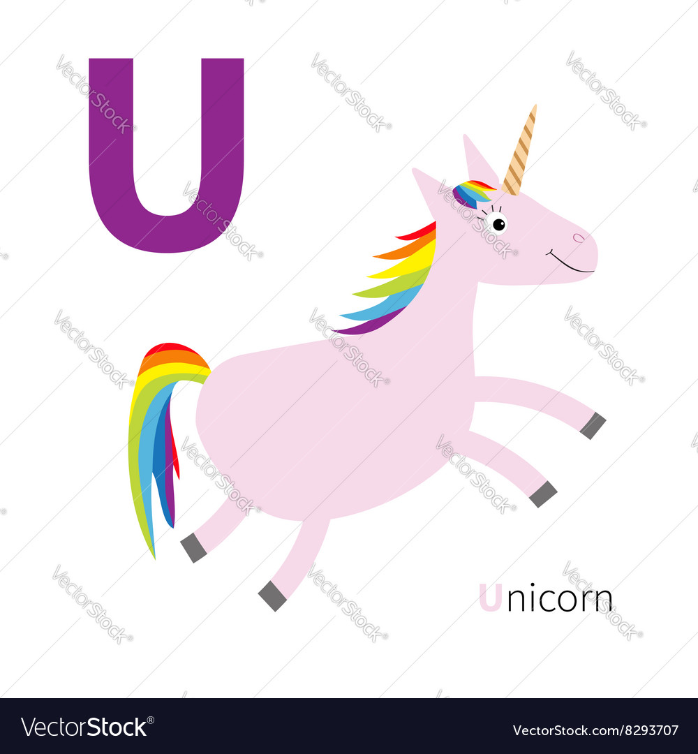 Letter U Unicorn Zoo alphabet English abc with Vector Image