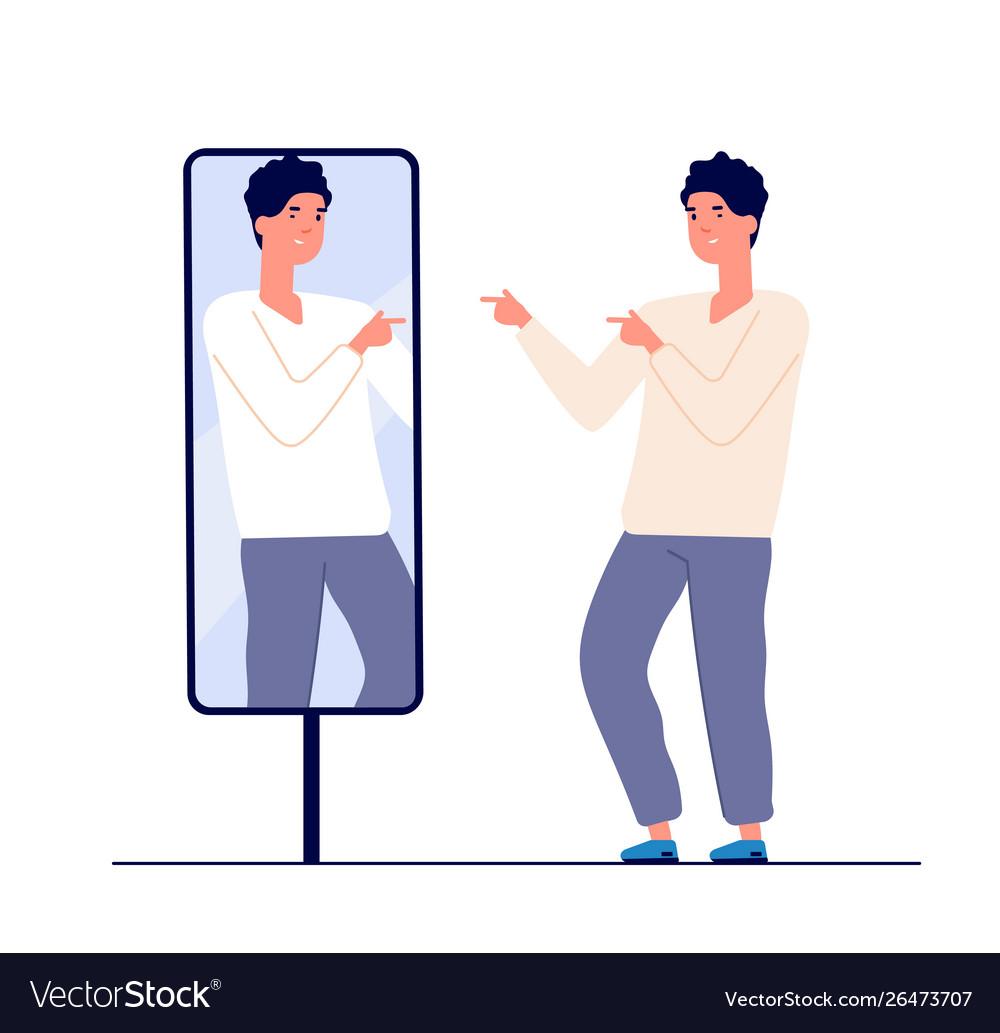 Man at mirror guy self looking reflection love