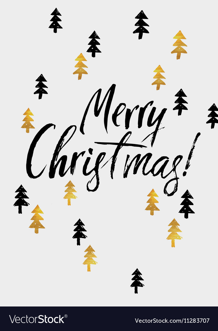 Merry Christmas hand lettering and Golden Tree