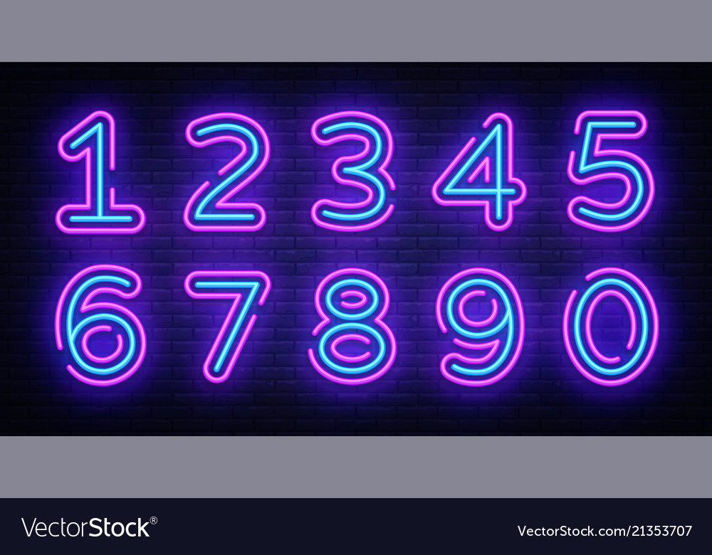 Number symbols collection neon sign design