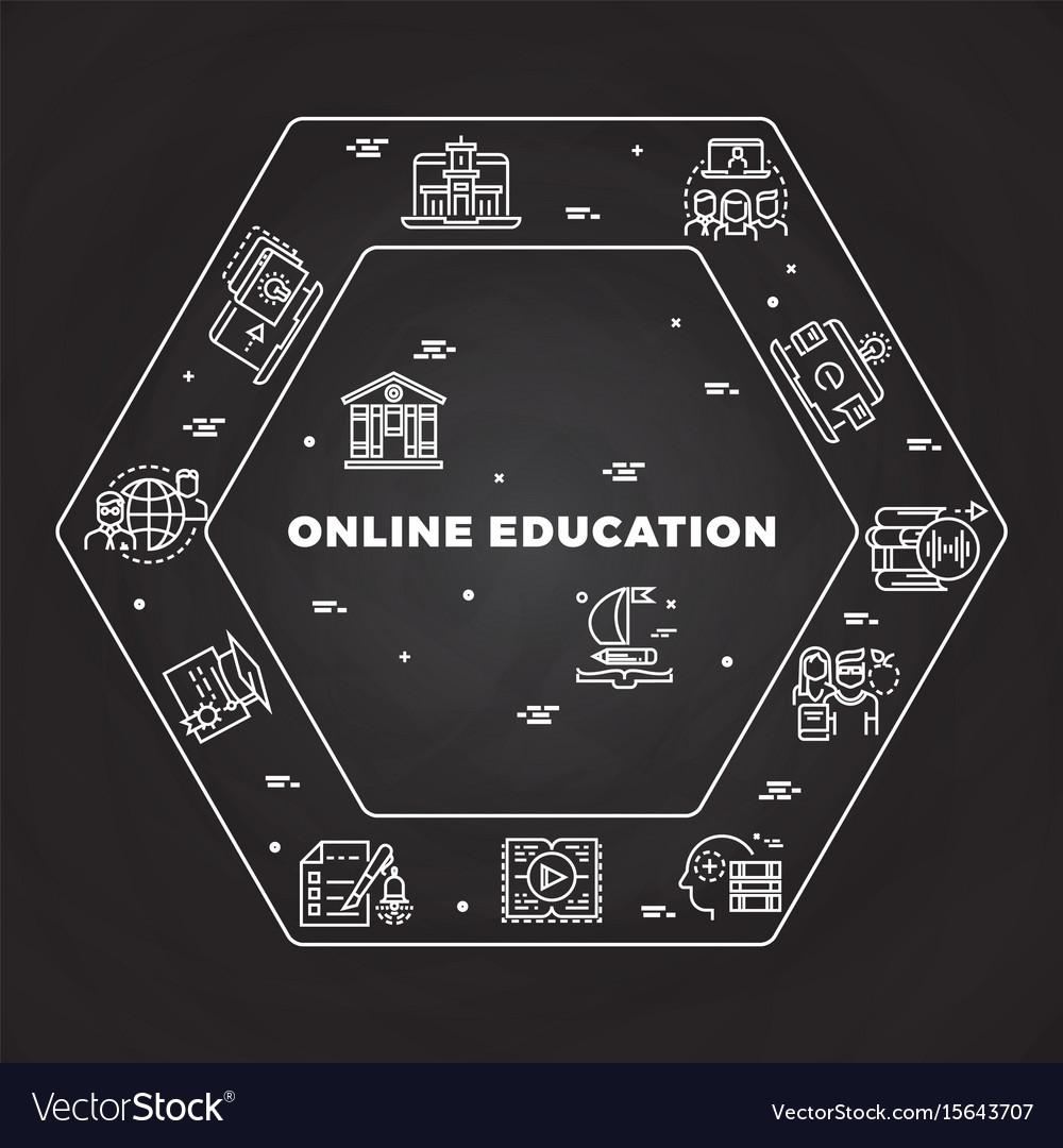 Online education line art concept on blackboard