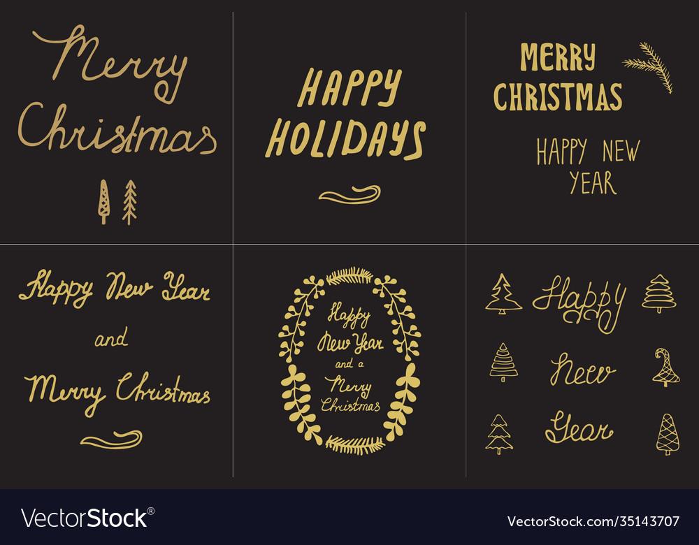 Set greeting card hand drawn black