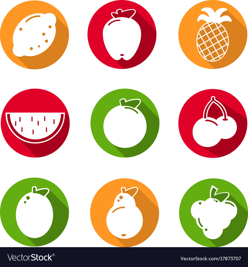 Set of flat design icons for fruits on white vector image