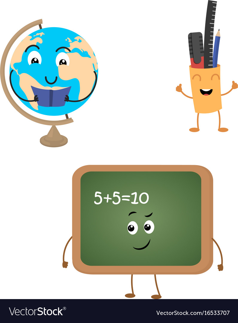 Set of funny characters from blackboard globe