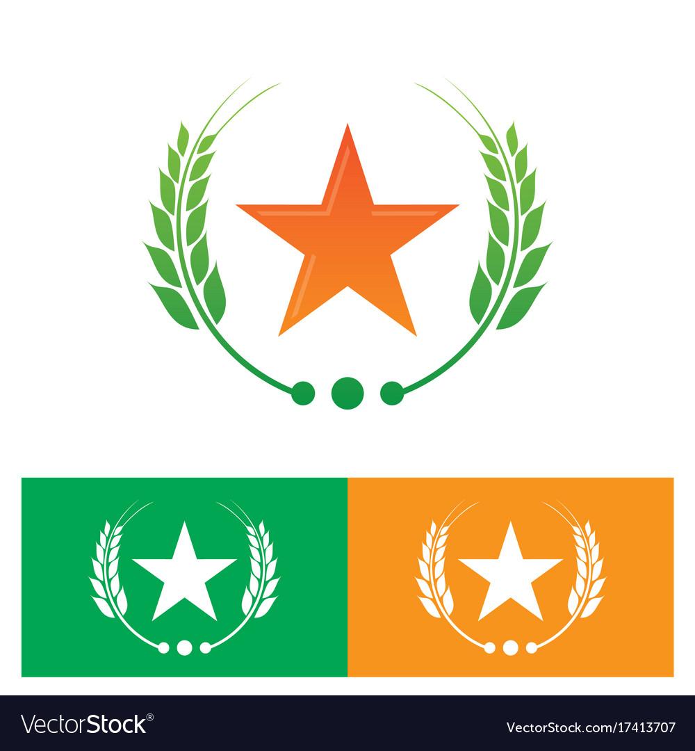 Star and laurel wreath logo