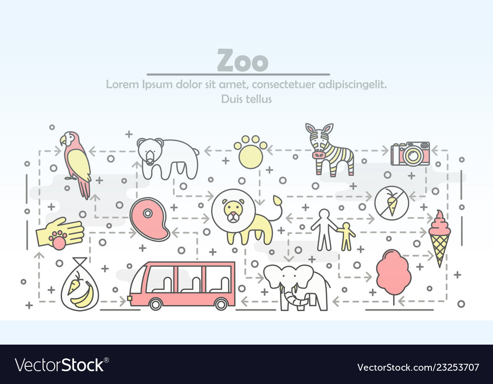 Thin line art zoo poster banner template