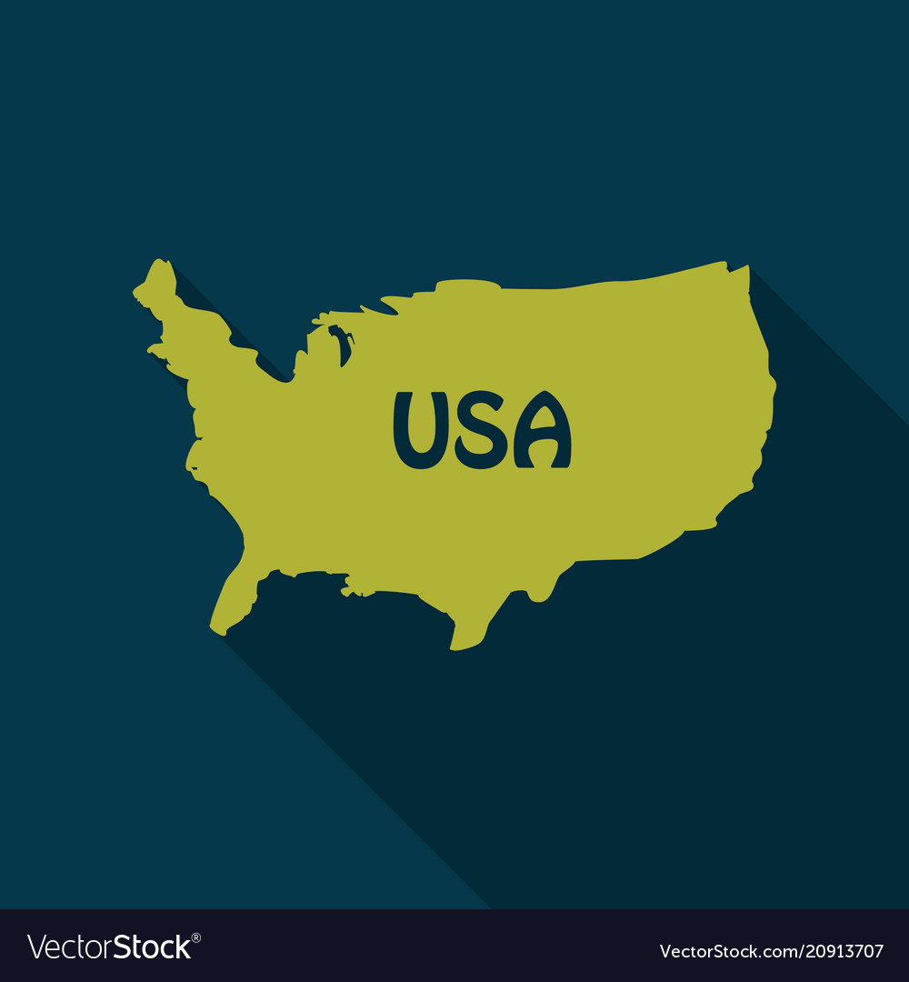 Usa map in flat style with shadow
