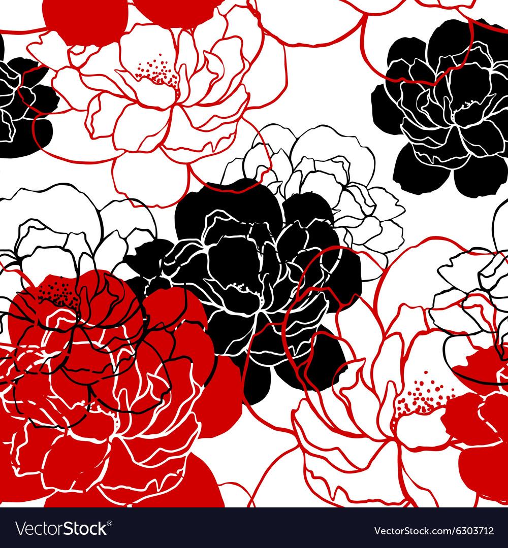 Beautiful peonies pattern vector image
