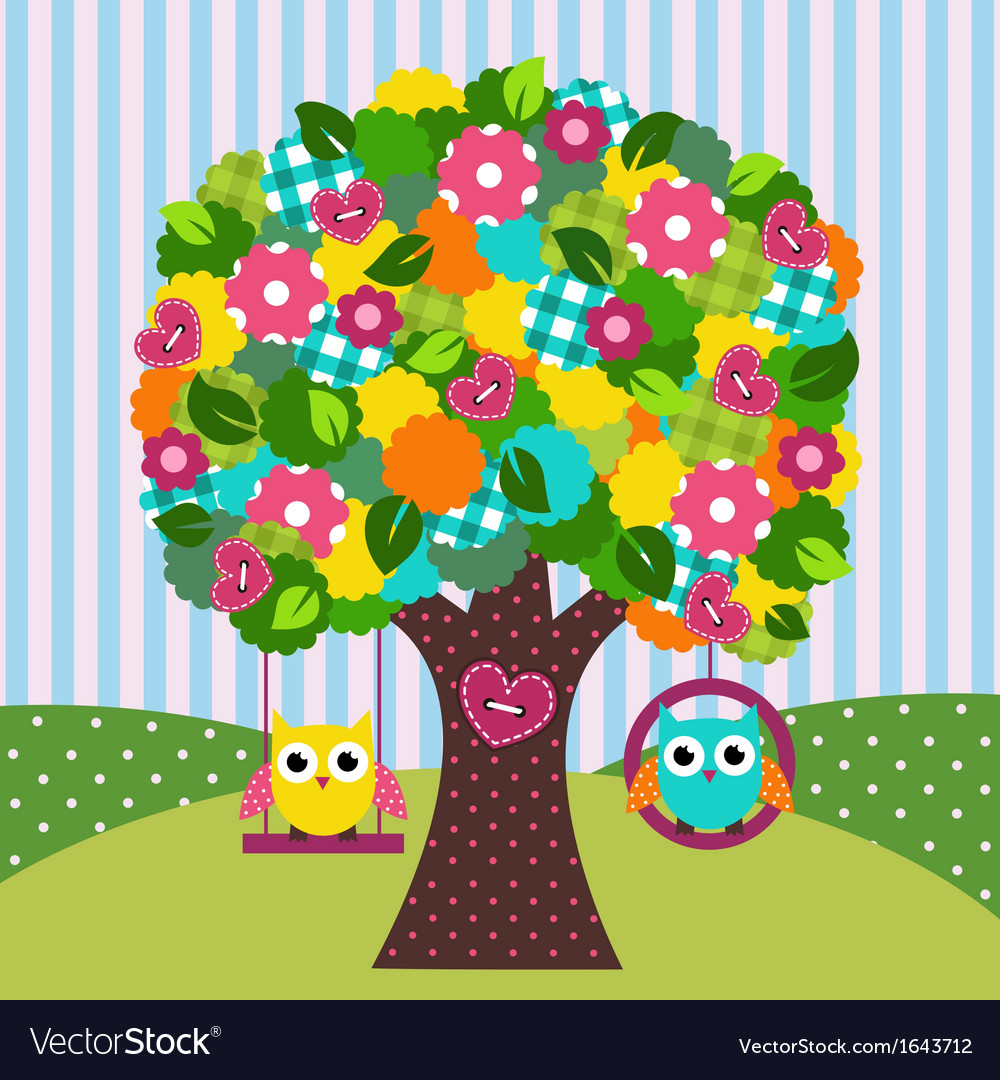 Beautiful tree with owls on swings