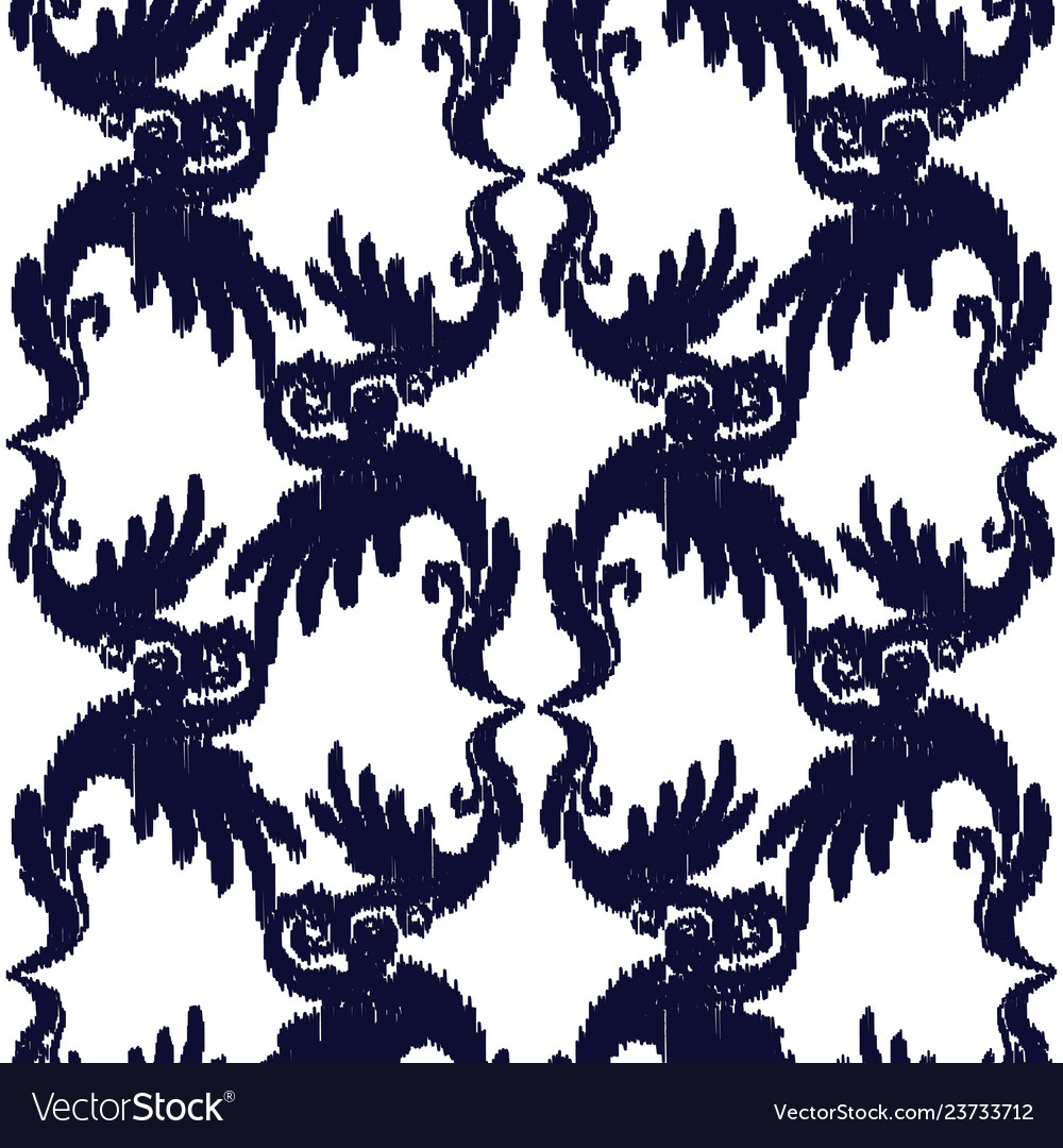 Blue and white elegant seamless pattern vintage vector