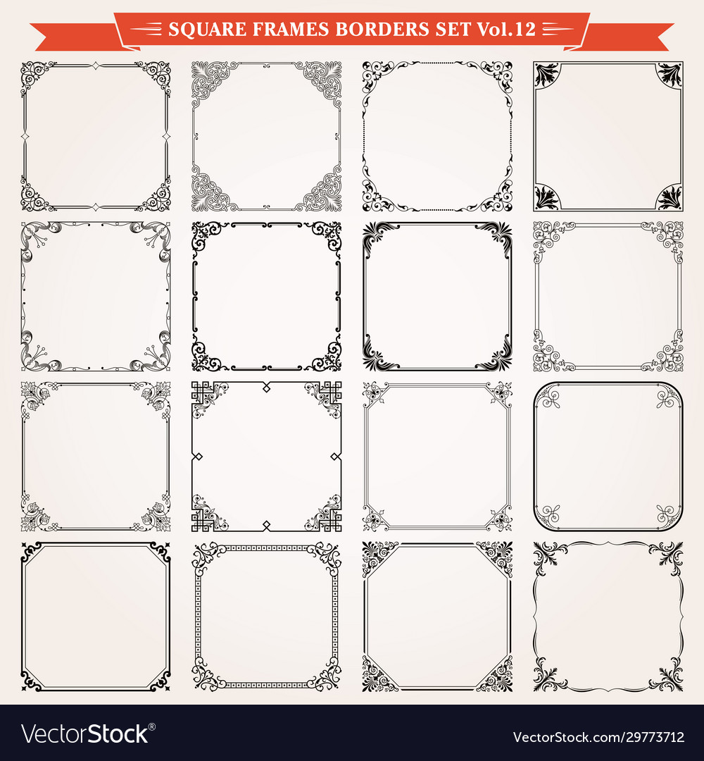 Decorative square frames and borders set 12