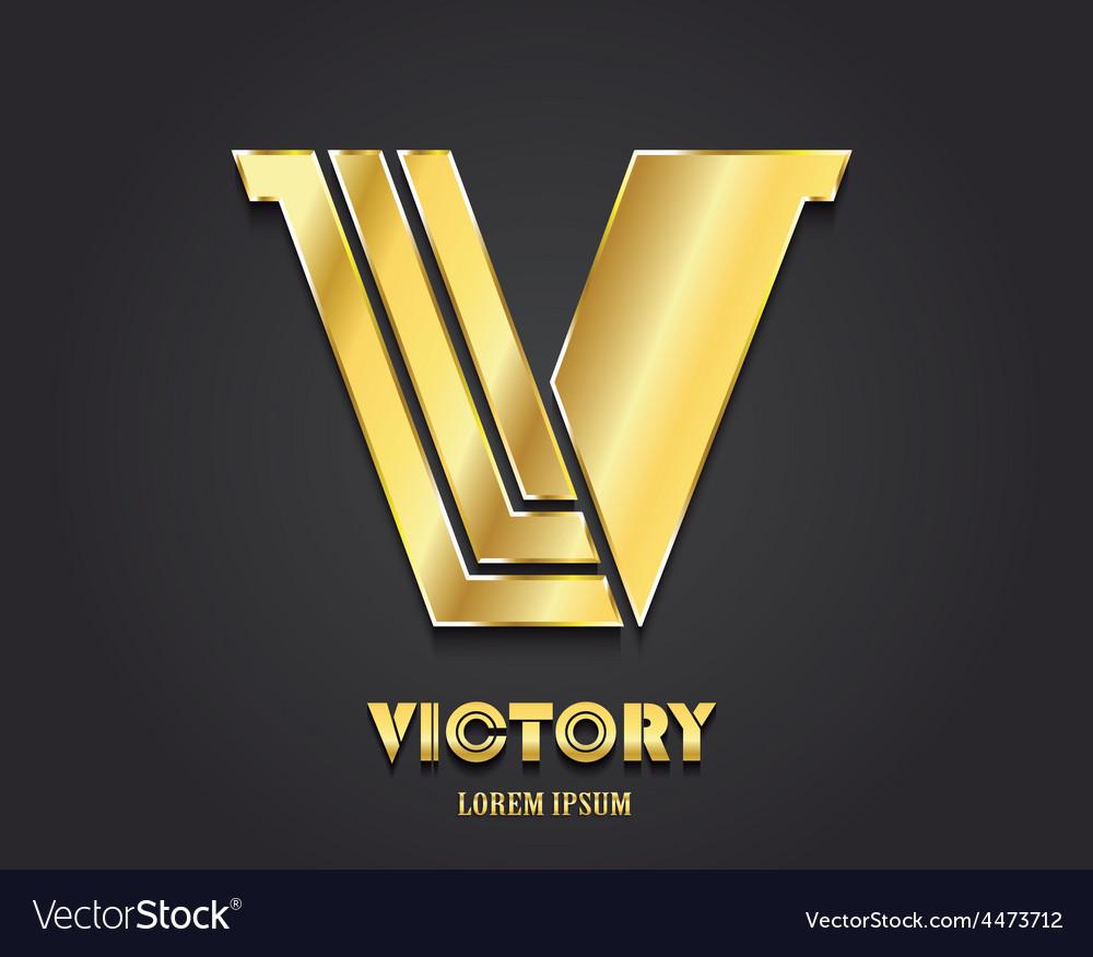 Golden Letter V from alphabet symbol of victory