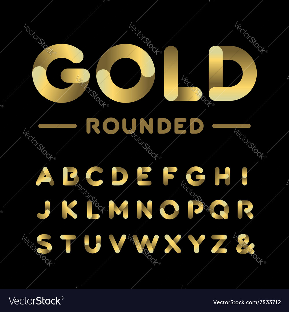 Golden rounded font alphabet with gold effect