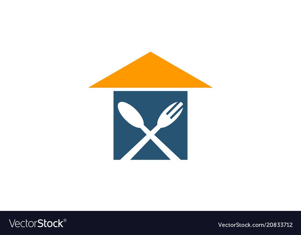 Home restaurant logo design template