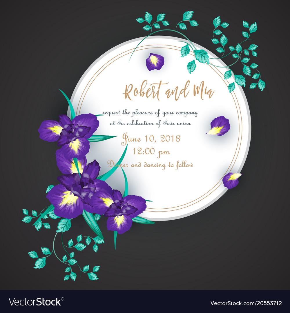 Iris flower wedding invitation card vector image on vectorstock iris flower wedding invitation card vector image izmirmasajfo