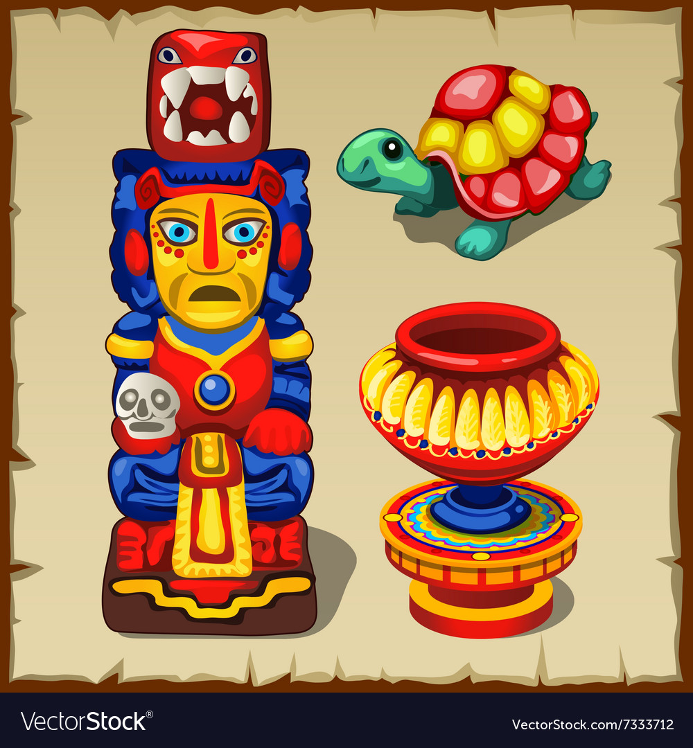 Mayan totem the turtle and decorative vase