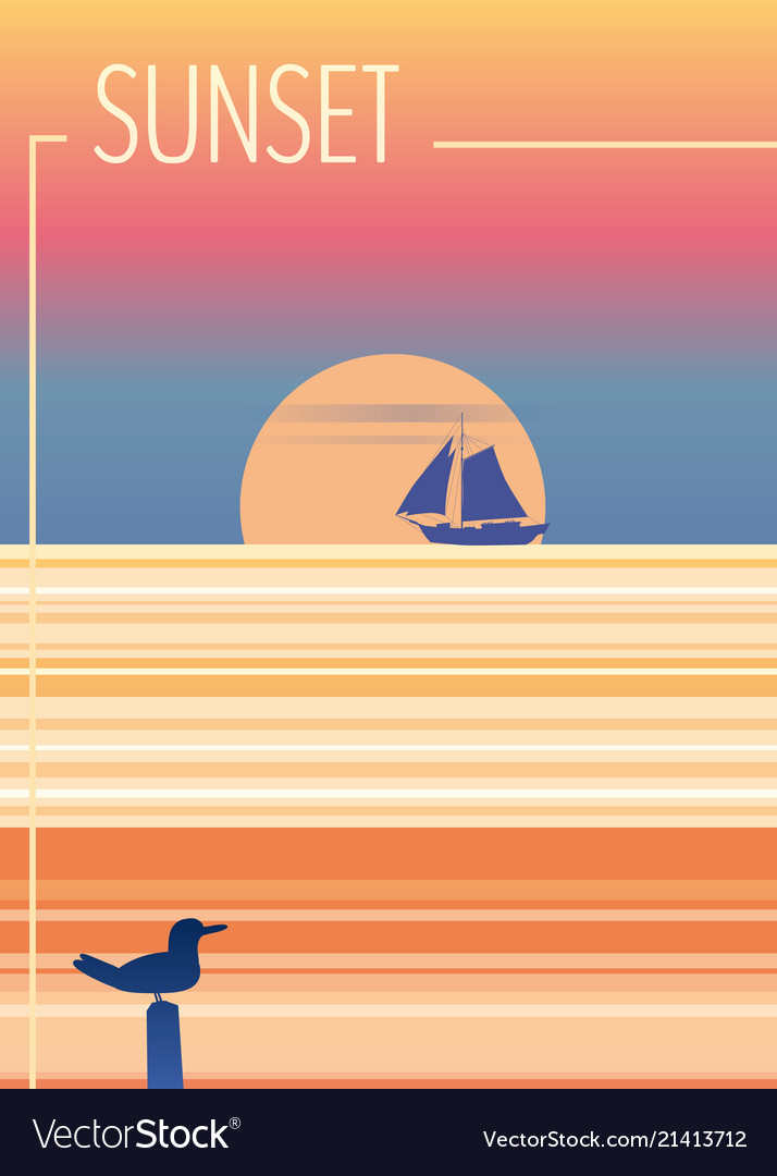 Minimalist sunset in the sea ocean with a