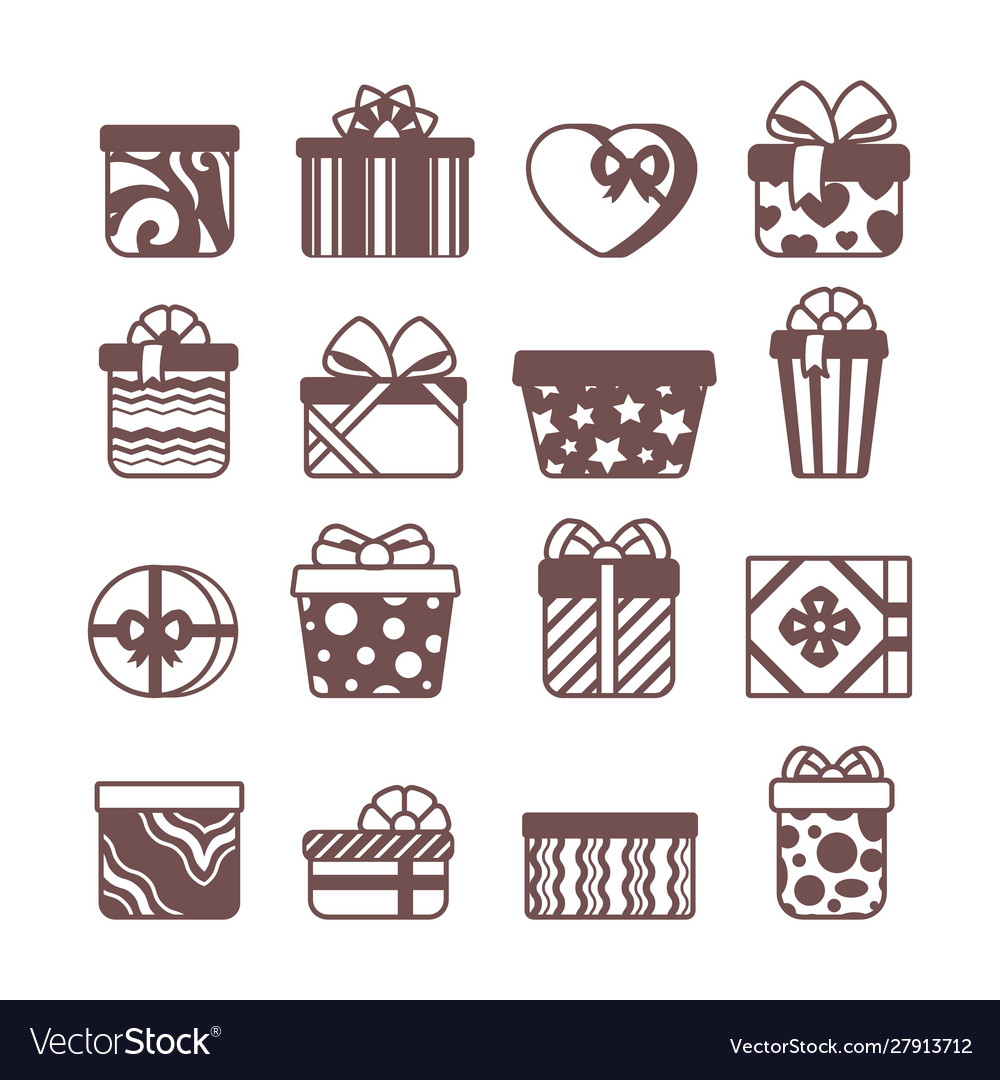 Present gift packages glyph icons set
